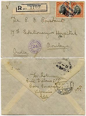 CHILE to INDIA 1918 REGISTERED CENSOR 24 WW1 to STATIONARY HOSPITAL MALABAR HILL