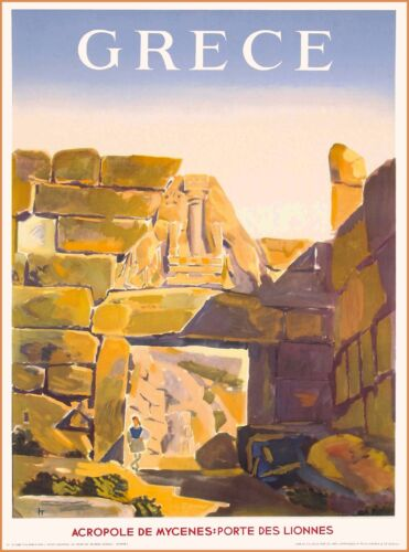Greece Grece Mycenes Mycenae Acropolis Vintage Travel Advertisement Poster