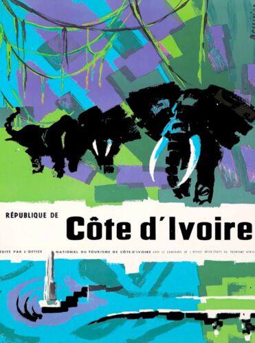 Republique De Côte d'Ivoire  Africa Vintage Travel Advertisement Art Poster