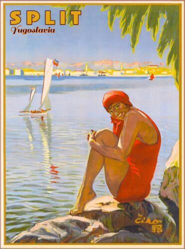 Split Yugoslavia Yugoslavian Croatia Vintage Travel Advertisement Art Poster