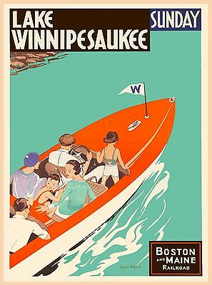 Lake Winnipesaukee New Hampshire United States Travel Advertisement Art Poster