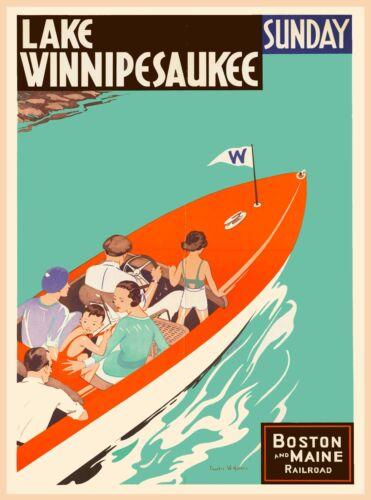 Lake Winnipesaukee New Hampshire United States Travel Advertisement Art Poster