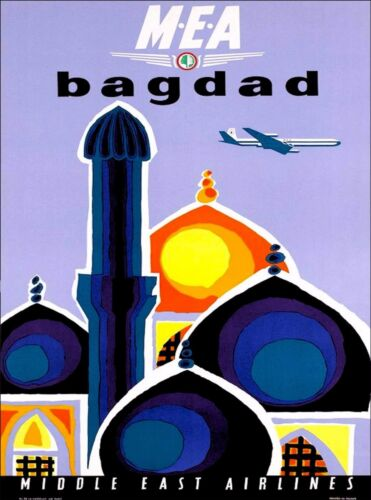 Baghdad Iraq Middle East Airlines Vintage Airline Travel Advertisement Poster