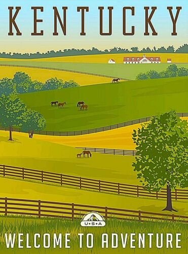 Kentucky Welcome to Adventure Retro United States Travel Art Deco Poster Print