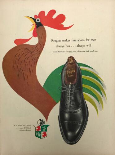 W L Douglas Shoe Company Men Magazine Print Ad Vintage Rooster Fashion 1951