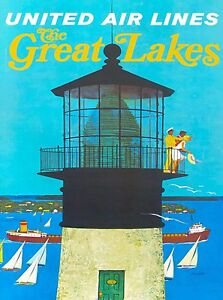 United Airlines Great Lakes Michigan United States Travel Advertisement Poster