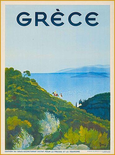 Grece Greece Greek Isles Islands Isle Vintage Travel Advertisement Poster