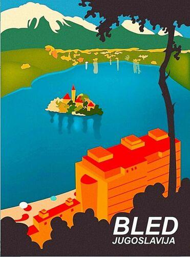 Bled Yugoslavia Croatia Ocean Vintage Wall Decor Travel Art Poster Print