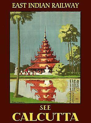 East Indian Railway Calcutta Kolkata India Vintage Travel Advertisement Poster