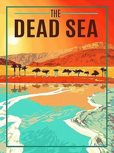 The Dead Sea Israel Jordan Middle East Retro Wall Decor Travel Art Poster Print
