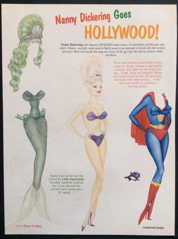 Nanny Dickering Goes Hollywood Paper Doll, 1990 Cracked Magazine, Skene Catling