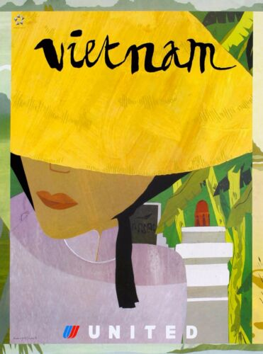Vietnam Vietnamese Asia Asian Vintage Airlines Travel Advertisement Art Poster