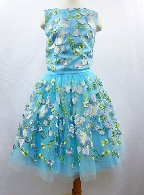 DAVID CHARLES Gold Label Girls Blue Green Floral Tulle Spring Party Dress 12-14
