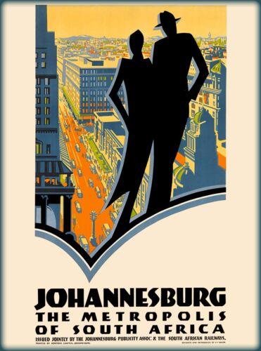 Johannesburg Metropolis South Africa Vintage Travel Poster Advertisement Print