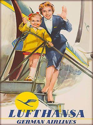 Lufthansa Germany German Airlines Vintage Airway Travel Advertisement Poster  - German Vintage Poster