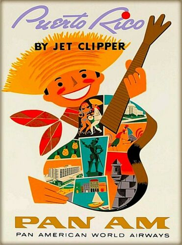 Puerto Rico by Jet Clipper Pan Am Caribbean Vintage Travel Advertisement Poster