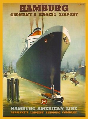 Hamburg Germany's Biggest Seaport Germany Vintage Oceanliner Travel Art Poster