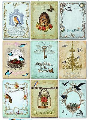 9 French Ephemera Shabby Chic Hang Tags Scrapbooking Paper Crafts - Shabby Chic Scrapbook Paper