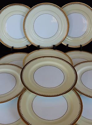SET 12 ANTIQUE PICKARD HAND DECORATED CHINA GOLD ENCRUSTED DINNER PLATES