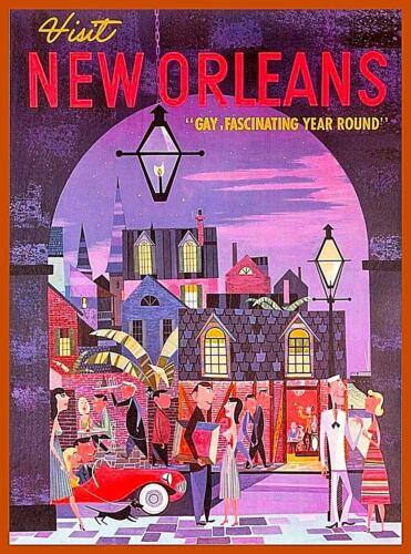 Visit New Orleans Louisiana Vintage Travel Decor Advertisement Art Poster Print