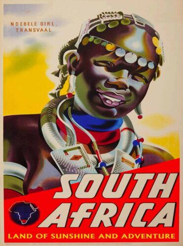 South Africa Land of Sunshine Vintage African Travel Poster Advertisement Print