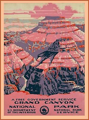 1938 Grand Canyon National Park Arizona United States Travel Art Poster Print