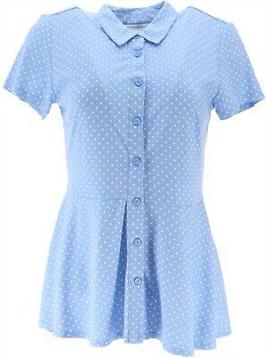 Isaac Mizrahi Polka Dot Knit Button Peplum Top Cornflower Blue L NEW A352549