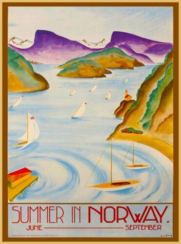 Summer In Norway Norwegian Scandinavia Vintage Travel Advertisement Art Poster