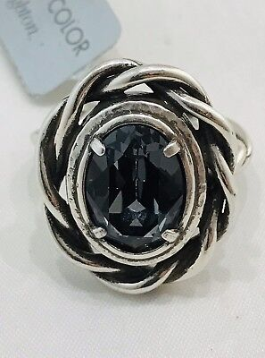 Brighton RADIANT 'Silver Night' Swarovski Crystal Ring Size 9