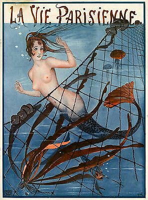 1920's La Vie Parisienne Nouveau Mermaid Blue France Travel Advertisement Poster