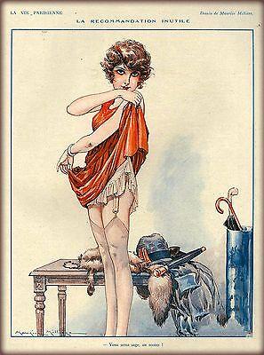 1920s La Vie Parisienne Getting Dressed France Travel Advertisement Poster Print