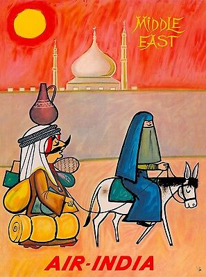 Middle East Air-India Vintage Airline Travel Advertisement Art Poster Print