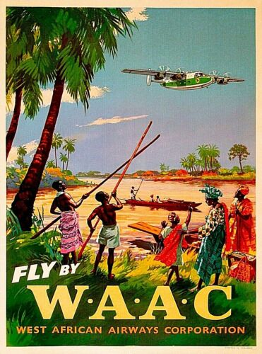 Fly West African Airway West Africa Vintage Airline Travel Decor Poster Print