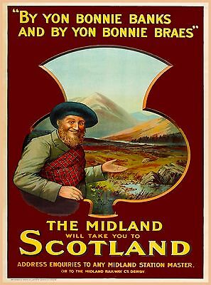 The Midland will take you to Scotland Great Britain Vintage Travel Poster Print