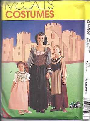 8449 UNCUT McCalls SEWING Pattern Girls Misses Medieval Halloween Costumes OOP
