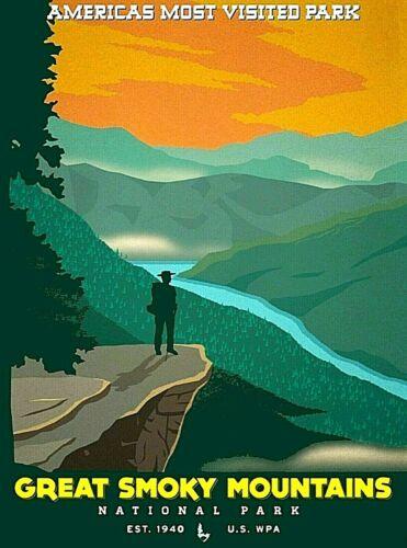 North Carolina Great Smoky Mountains National Park Ad Art Poster Print