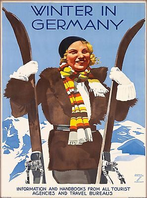 Winter in Germany Ski Skiing  Vintage German Travel Advertisement Poster