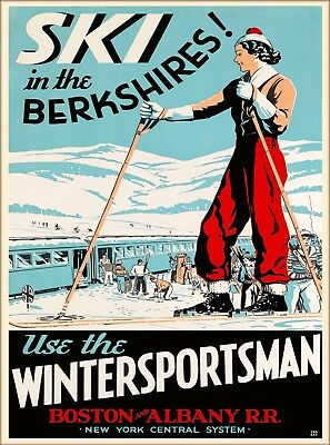 Ski in The Berkshires Massachusetts U.S. Travel Advertisement Art Poster Print