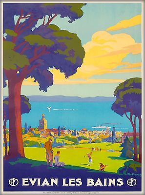 Evian Les Bains South France Vintage French Travel Advertisement Poster Print 2