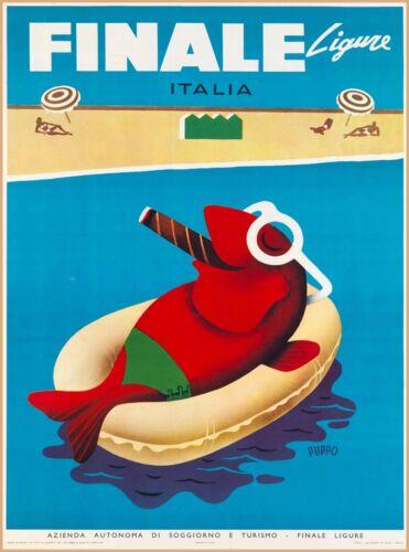 Finale Ligure Liguria  Italy Italian Europe Vintage Travel Advertisement Poster