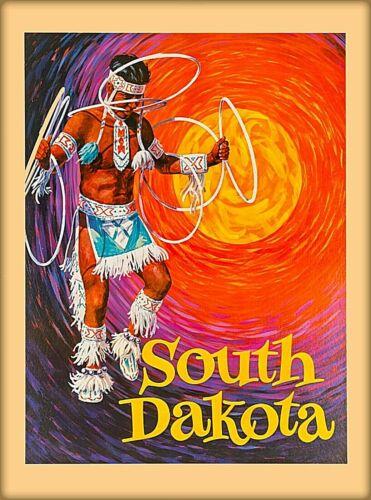 South Dakota Native American Vintage United States Travel Art  Poster Print