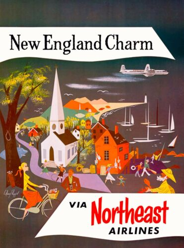 New England Charm United States of America Vintage Travel Advertisement Poster