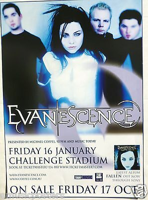 Evanescence  Fallen Tour  2005 Perth  Australia Concert Poster   Amy Lee   Band