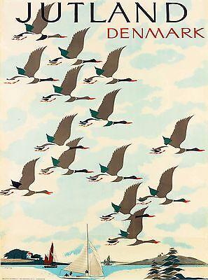 Jutland Denmark Scandinavia flying Geese Vintage Travel Advertisement Poster