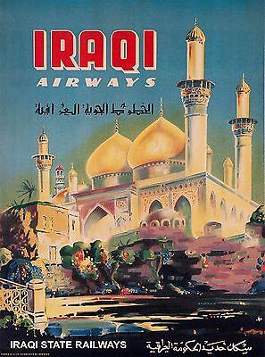 Iraqi Airways Baghdad Iraq Vintage Railroad Airline Travel Advertisement Poster