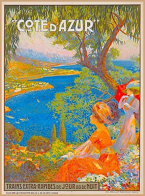 Cote D' Azur Trains France Vintage French Riviera Travel Advertisement Poster