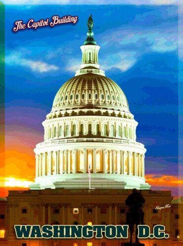 The Capitol Building Washington D.C. United States America Travel Poster Print