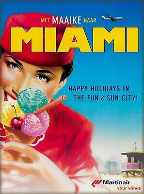Florida Vintage Poster (Met Maaike Miami Florida Vintage Airline Stewardess Travel Art Poster)
