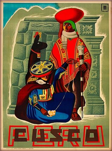 Peru Incas Machu Picchu Cusco Cuzco South America Vintage Travel Poster Print 2