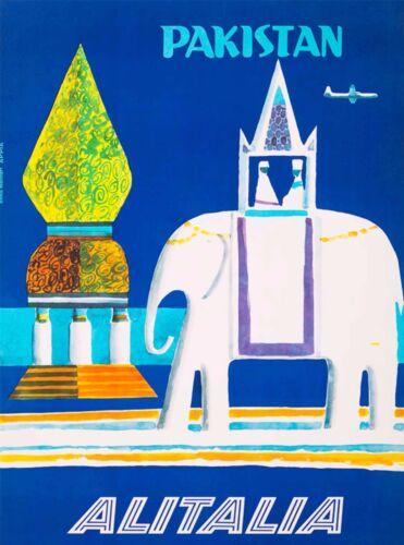 Pakistan Elephant South East Asia Air Vintage Travel Advertisement Art Poster